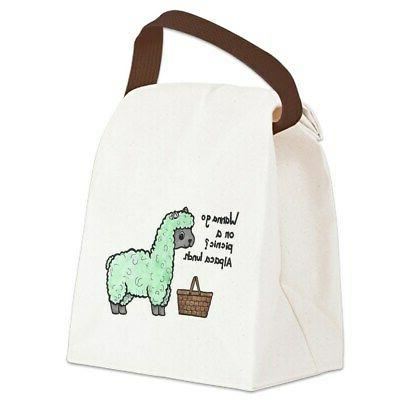alpaca lunch canvas lunch bag with strap
