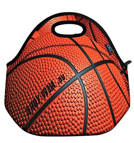 basketball insulated neoprene lunch bag