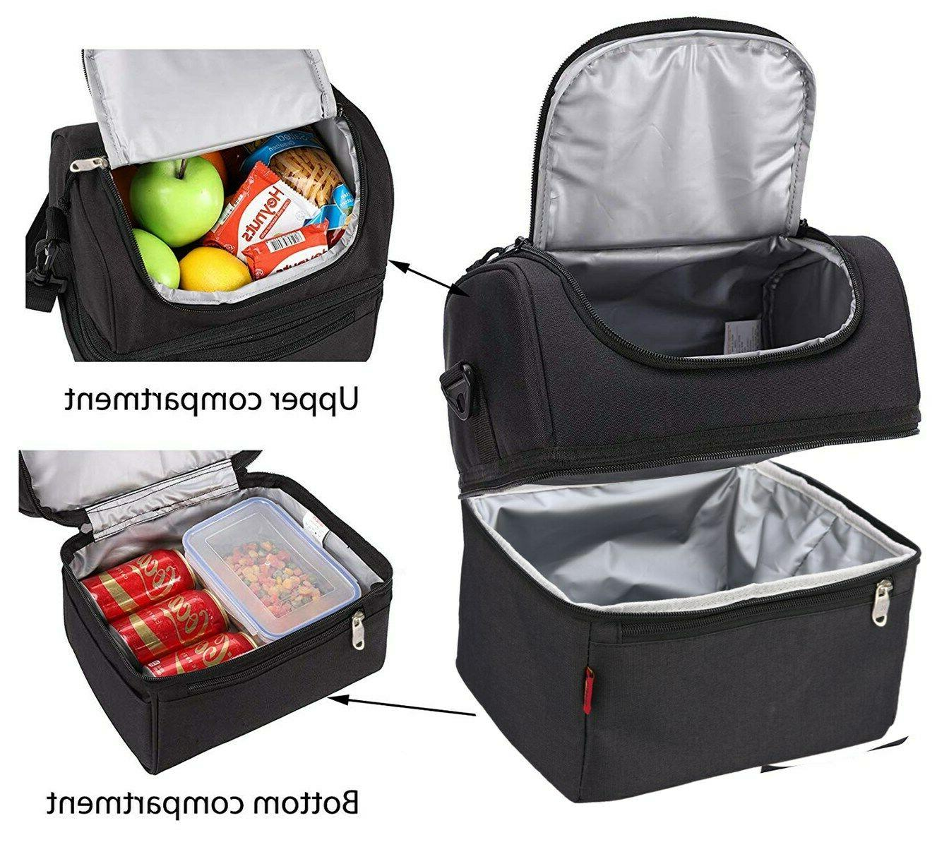 black double deck cooler lunch box insulated