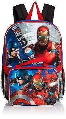 "Boys Avengers 16"" Backpack w/ Insulated Lunch bag Iron Man C"