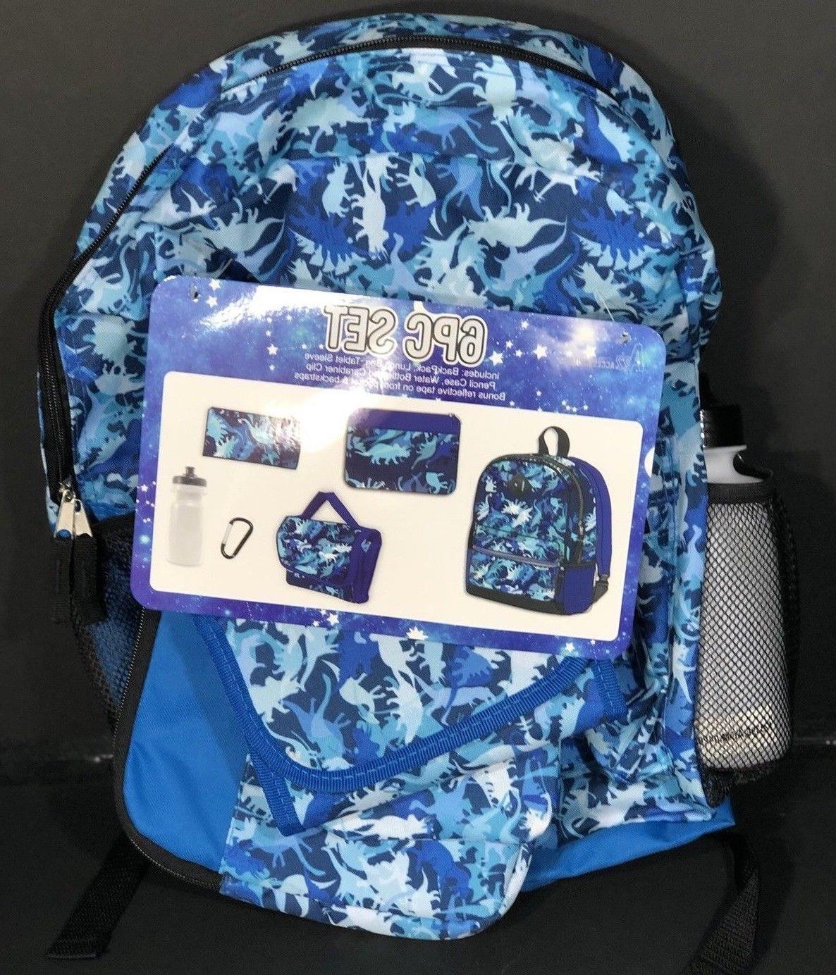 boys dinosaur 6pc set backpack lunch bag