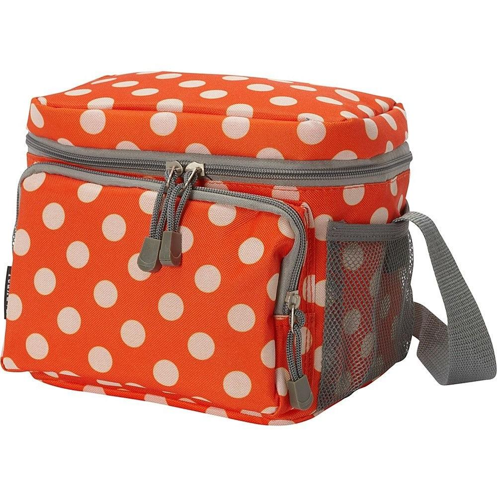 cooler lunch bag insulated orange and white