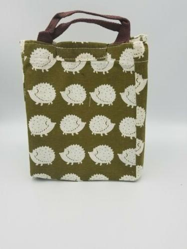 Mziart Reusable Cotton Lunch Bag Insulated Soft Cooler Hedgehog