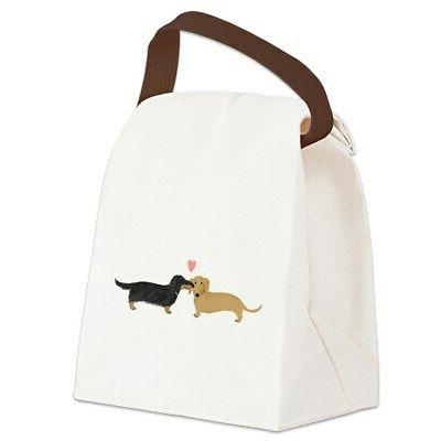 dachshund smooch canvas lunch bag with strap