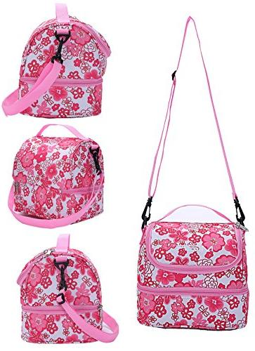 MIER Insulated Lunch Box Pink Cooler Tote with