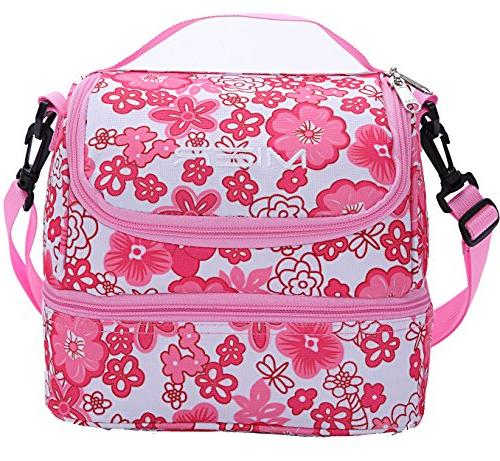 double decker insulated lunch pink