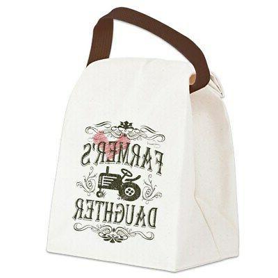 farmer white distress canvas lunch bag
