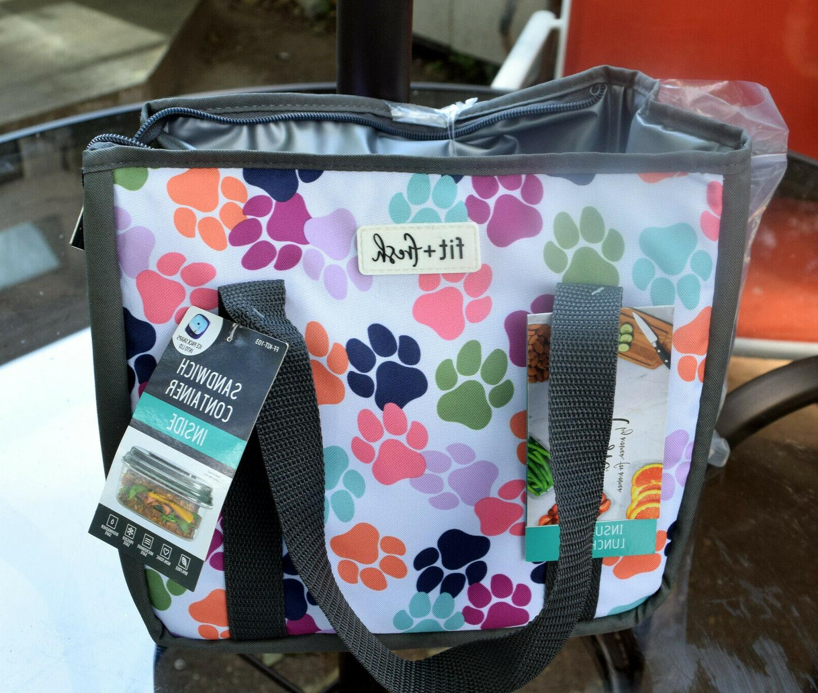 Fit & Fresh Insulated Lunch Tote With Sandwich Container Paw