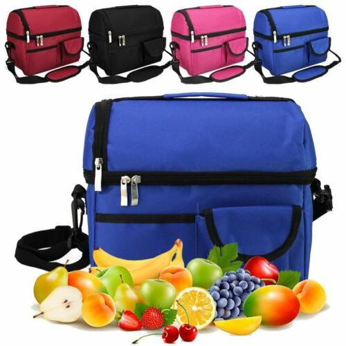 For Men Women Double Deck Lunch Bag Dual Compartment Work Of