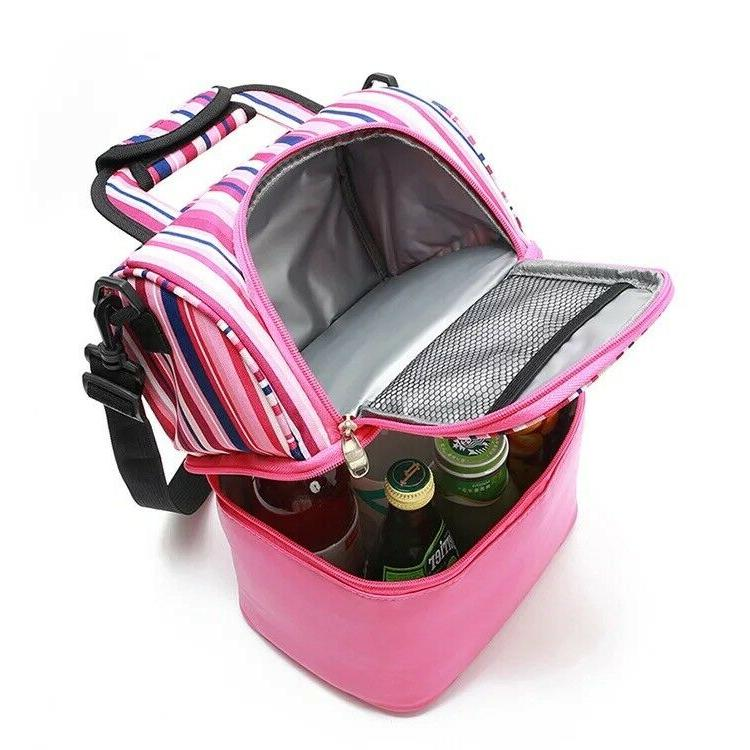 Insulated lunch capacity Double Lunch Bag