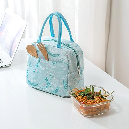 Portable Cooler Reusable Lunch box Lunch for Adults&Kids, Flowers