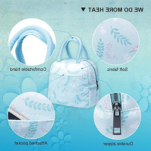 Insulated Lunch Portable Tote Bag Reusable Lunch Lunch for Adults&Kids, Language Flowers