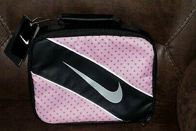 insulated lunch bag soft case black polka