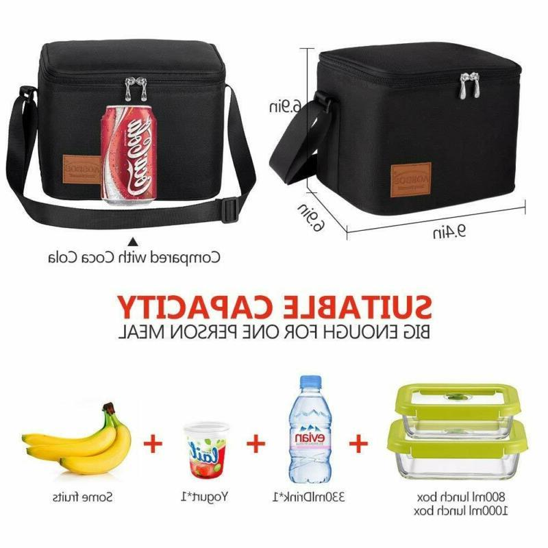 Aosbos Insulated Lunch Bag Tote Black