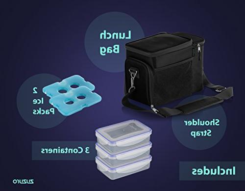 Zuzuro Lunch Cooler Lunch Box w/ Fabric, Strong SBS - Meal Prep + Ice For Men