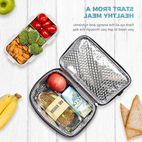 Lifewit Insulated Lunch for Water-Resistant Bento Prep, Dual Grey