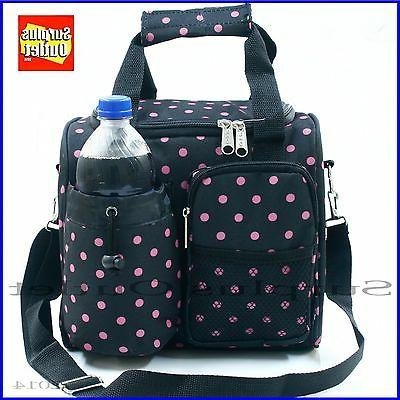 Jumbo Polka Dot Insulated Lunch Bag With Adjustable Strap an