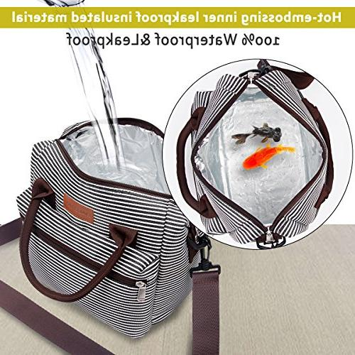 BALORAY Lunch for Women Box with Adjustable Shoulder Strap,Water-Resistant Leakproof Cooler Tote Bag