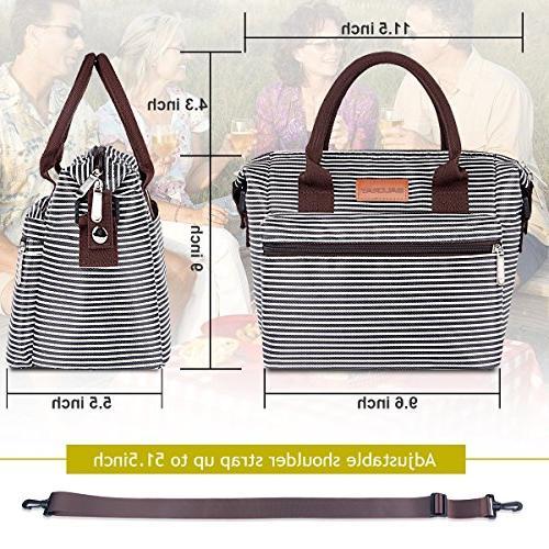 BALORAY Bag Women with Adjustable Shoulder Strap,Water-Resistant Leakproof Cooler Tote Bag Work/School/Picnic