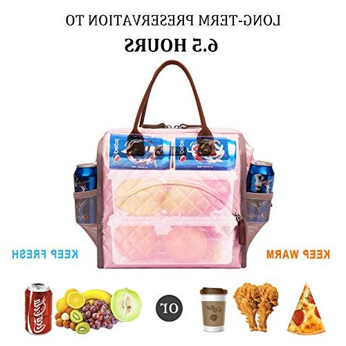 LOKASS Lunch Bag Insulated Lunch Lunch Bag Drinks Durable Nylon Snacks Organizer Men Boys Girls kids Adult School Activity,Rose Gold