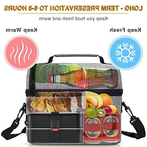 PuTwo Lunch Insulated Box Lunch Bags Women Lunch Bag for Men Bag with YKK Shoulder Strap Lunch for Lunch Box Bento Lunch - Grey