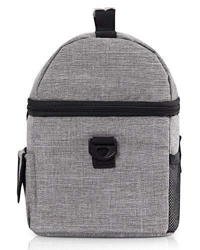 PuTwo Lunch Bag Insulated Lunch Bag Box for Women Men Bag YKK Zip Shoulder Strap for Lunch Box Bento Grey