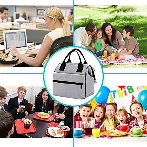 Srise Box Insulated Lunch &Women Meal Prep Tote Boxes For Kids & Adults(Grey)