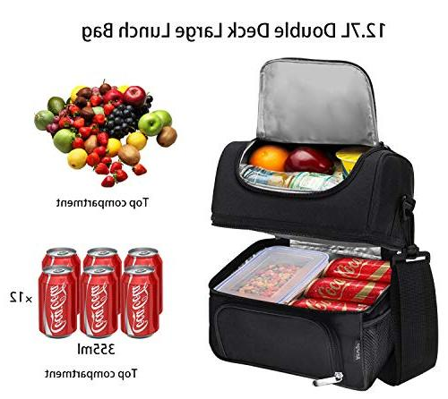 Lunch Reusable Double Large Lunch with Adjustable Strap Adults Women