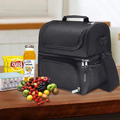Insulated Lunch Reusable Spacious Double Deck Large Adjustable Shoulder Strap for Adults Men