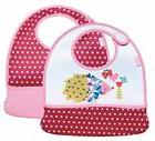 Built 2-Piece Mess Mate Toddler Bibs With Pockets - Pink Min
