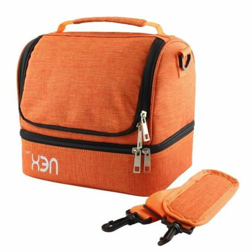 Nex Double Decker Cooler Insulated Lunch Bag with Zip Closur