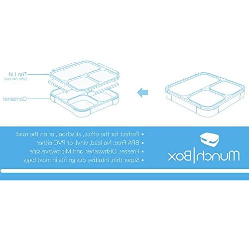MUNCHBOX - Sleek Ultra-Slim Tray Style Leakproof with Air - Mixing - Microwavable - Friendly - For Adults