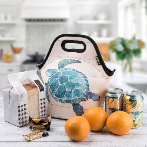 Neoprene Lunch Bags for Kids Men Teen Boys Sea Turtle Insula