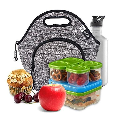 LunchFox Eco-Friendly Lunch Bag Grey Melange, Ultra-Thick Insulated The Silver Lake