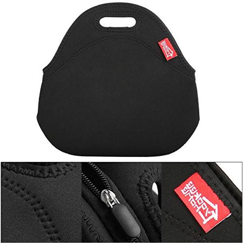 Black Neoprene Yookeehome Thick Reusable Insulated Thermal Neoprene Lunch Box Case Nurse Outdoor Travel Picnic