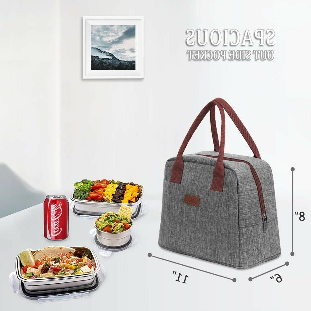 Portable Insulated 7.5L Thermal Cooler Tote Lunch Box Women Girls Gray