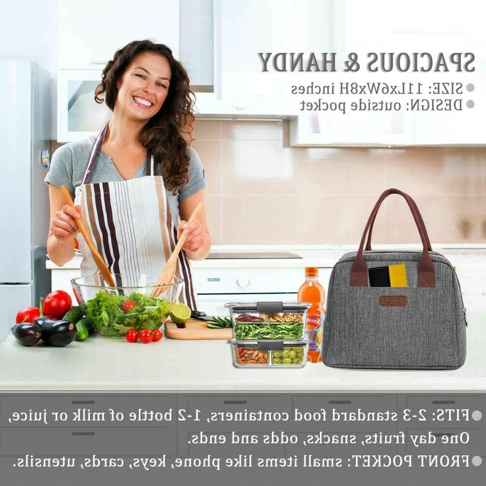 Portable Bag 7.5L Thermal Cooler Tote Lunch Box Women Girls Gray
