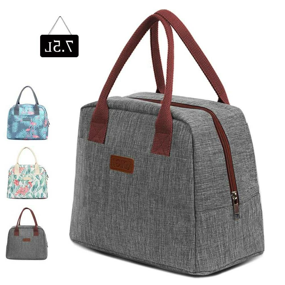 Portable Insulated Lunch 7.5L Thermal Tote Lunch Box Women Gray