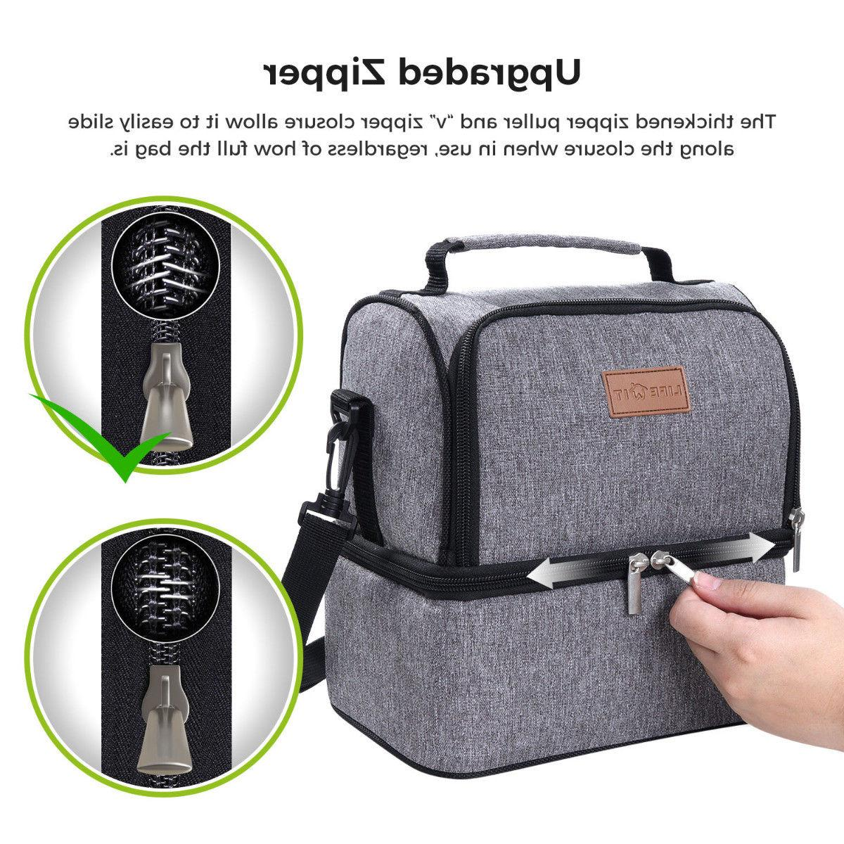 Portable Thermal Insulated Lunch Bag Box Tote Men