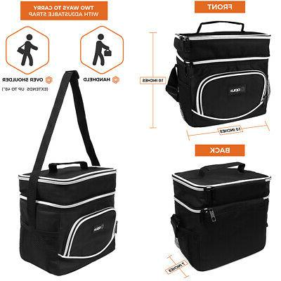 Insulated Dual Lunch Bag for Adults Shoulder Leakproof