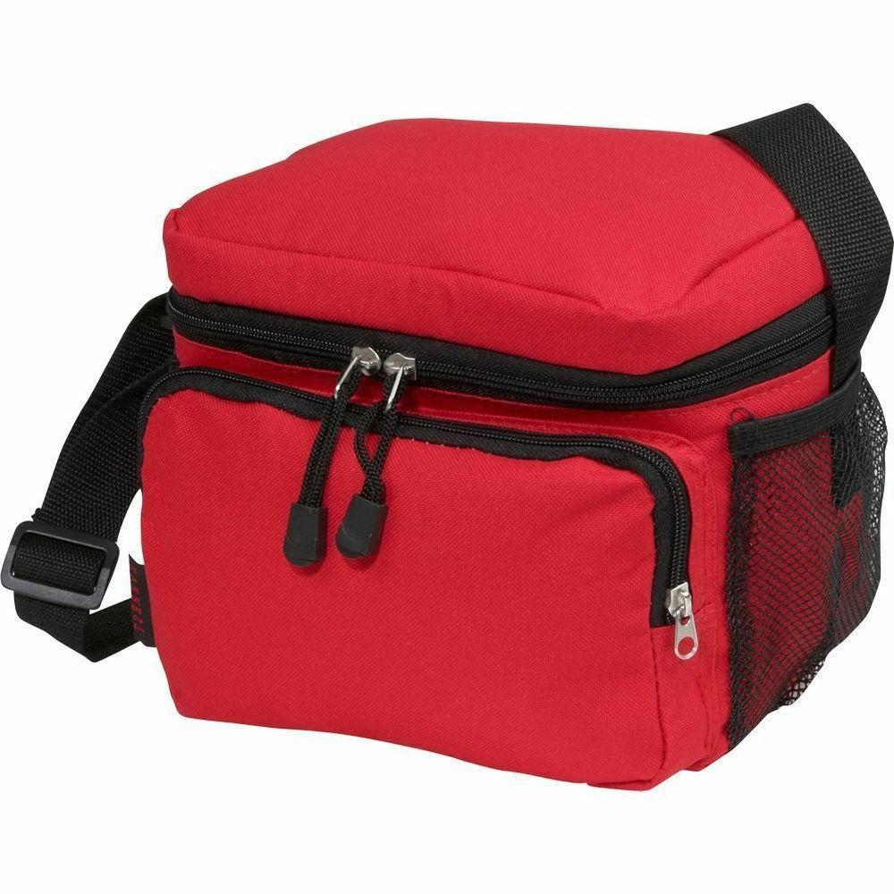 red cooler lunch bag with insulated cooler
