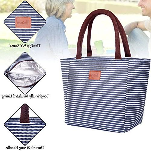 TianQin Tote for Oxford Cloth Lunch Bag Tote Bag Adults Kids, and White Strips