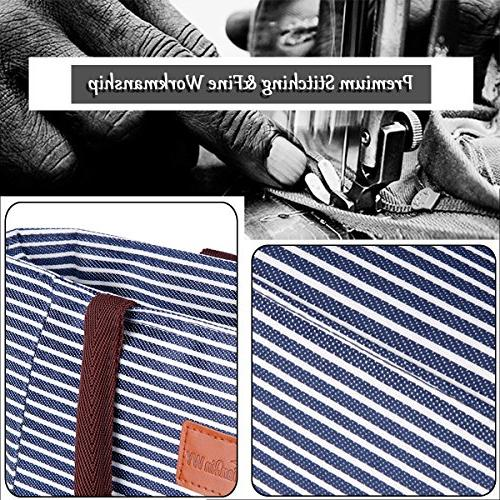 TianQin Reusable Tote Bag Oxford Cloth Waterproof Lunch Tote Handbag Bag for Adults Kids, Blue White Strips