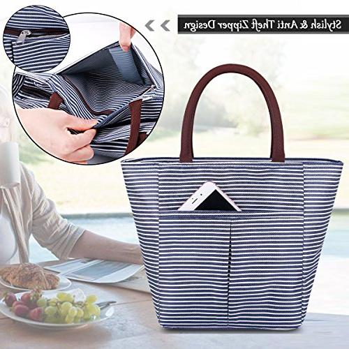 TianQin Tote for Women Lunch Bag Lunch Tote Bag Cooler Bag for Kids, Blue and Strips