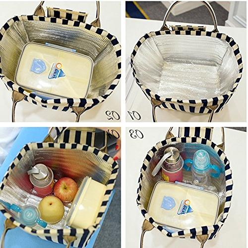 Moosoo Reusable Thermal Foldable Lunch Bag Lunch Insulated Box Picnic Bag School for Women Girls Children Student