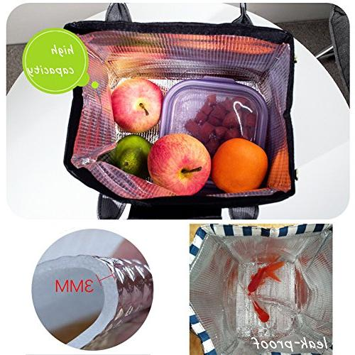 Moosoo Thermal Lunch Bag Lunch Tote Insulated Bag School Bag for Men Girls
