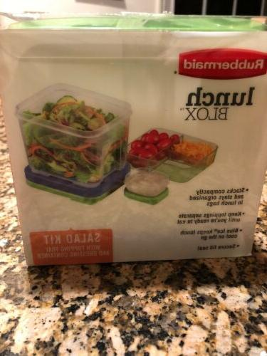 Rubber Maid Blox Salad Kit Tray And