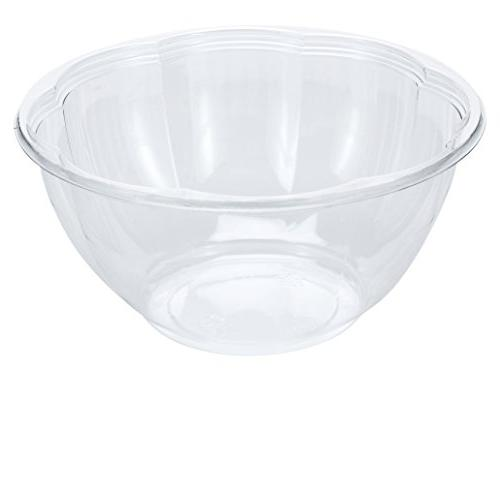 DOBI 32oz, Clear Plastic Disposable Salad with Lids, Standard Size