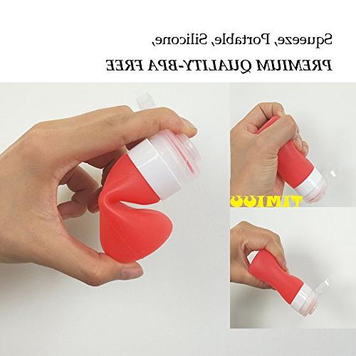 Squeeze with Cleaning Brush Portable Sauce Bottles | 3 OZ, 4 | Food-grade Silicone, BPA Free