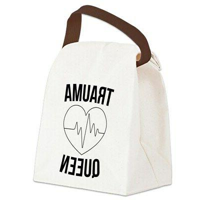 trauma queen canvas lunch bag with strap